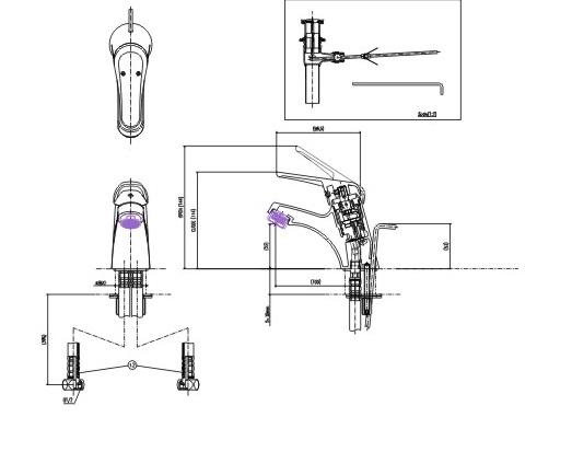 Bản vẽ kỹ thuật vòi lavabo nóng lạnh inax LFV-902S-1