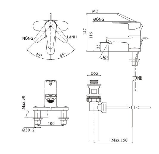 Bản vẽ kỹ thuật vòi lavabo INAX LFV-1102S-1