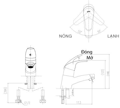 Bản vẽ kỹ thuật vòi lavabo nóng lạnh INAX LFV-1302S