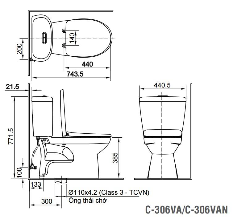 Bản vẽ bồn cầu Inax C-306VA - Xí bệt bàn cầu vệ sinh 2 khối nắp thường