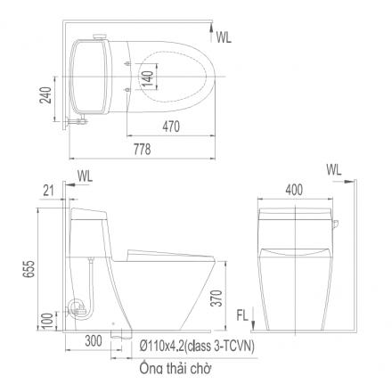 Bản vẽ bồn cầu Inax AC-918VRN-1 - Xí bệt bàn cầu vệ sinh 1 khối