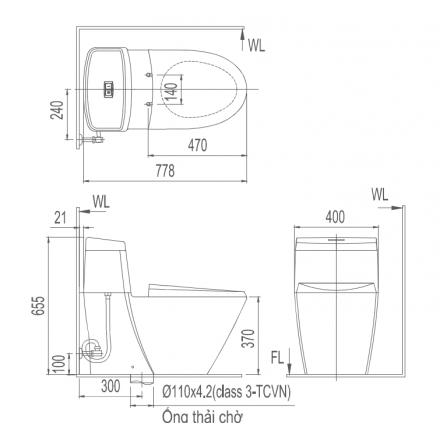 Bản vẽ bồn cầu Inax AC-909VRN-1 - Xí bệt bàn cầu vệ sinh 1 khối