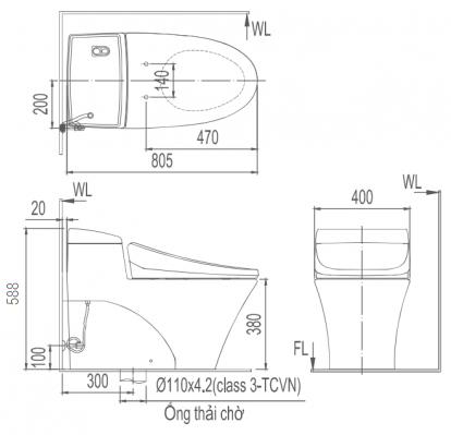 Bản vẽ bồn cầu Inax AC-1008VRN - Xí bệt bàn cầu vệ sinh 1 khối