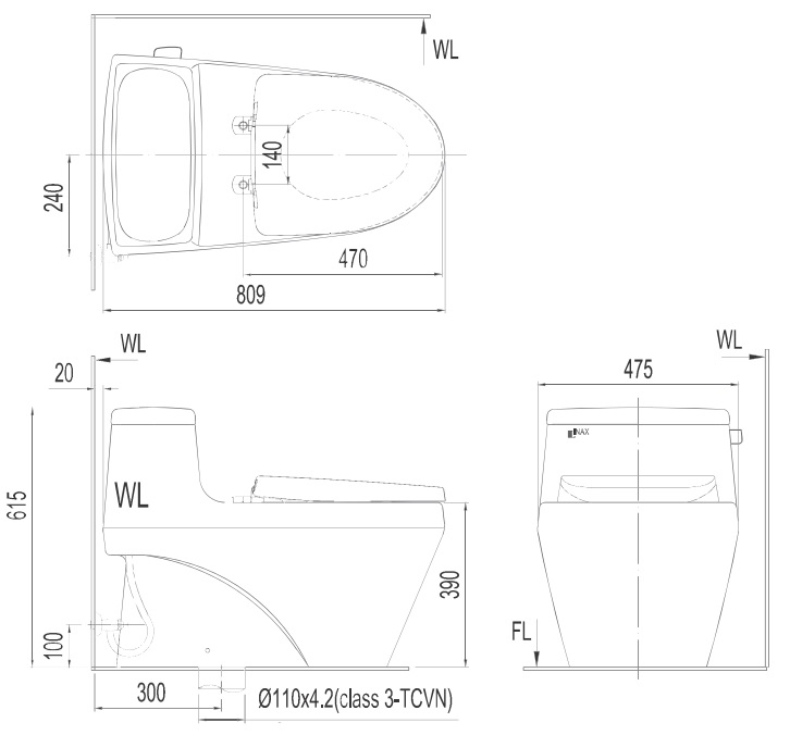 Bản vẽ bồn cầu Inax AC-1135VN - Xí bệt bàn cầu vệ sinh 1 khối