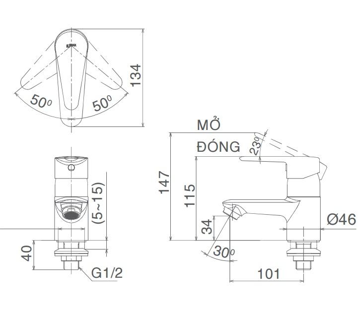Bản vẽ kỹ thuật vòi lạnh inax LFV-21S