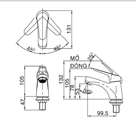 Bản vẽ kỹ thuật vòi lạnh inax LFV-20S