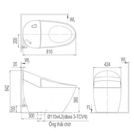 Bản vẽ bồn cầu Inax AC-2700VN - Xí bệt bàn cầu vệ sinh 1 khối