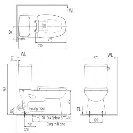 Bản vẽ bồn cầu Inax AC-838VN - Xí bệt bàn cầu vệ sinh 2 khối xả gạt