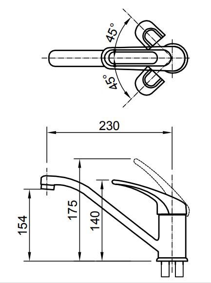 Bản vẽ kỹ thuật vòi bếp nóng lạnh INAX SFV-112S