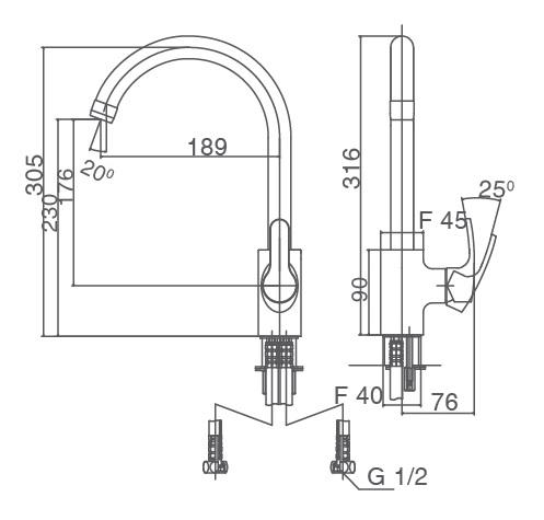 Bản vẽ kỹ thuật Vòi bếp INAX SFV-802S