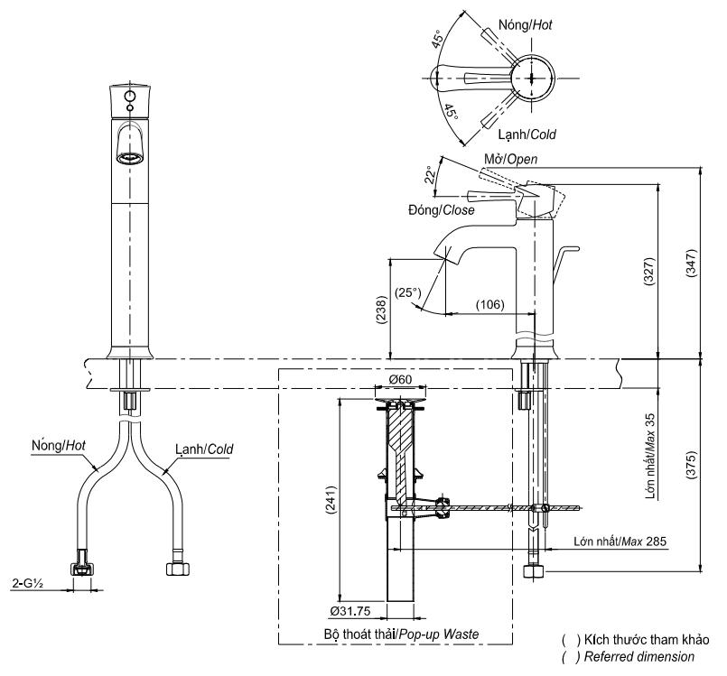Bản vẽ kỹ thuật vòi lavabo TOTO TLS02305V