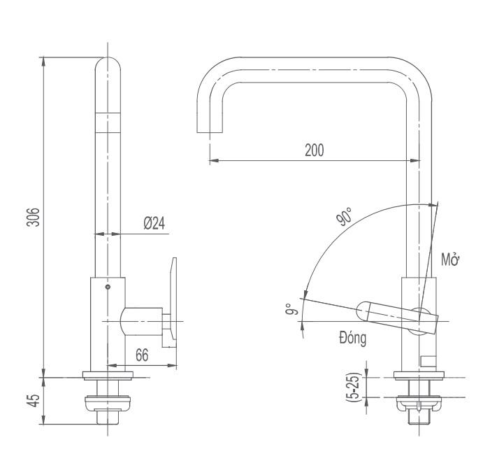 Bản vẽ kỹ thuật vòi bếp lạnh INAX SFV-30