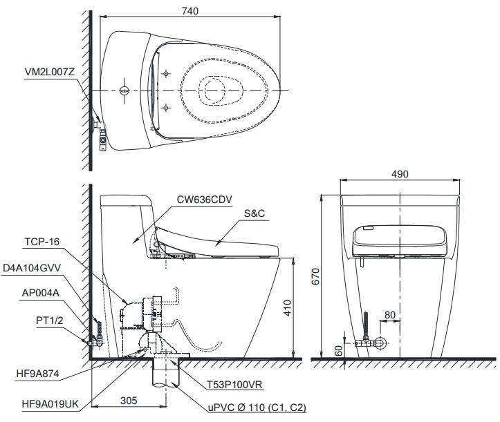Bản vẽ bồn cầu TOTO MS636DT2 - Xí bệt bàn cầu vệ sinh 1 khối