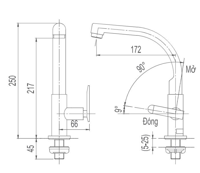 Bản vẽ kỹ thuật vòi bếp lạnh INAX SFV-29