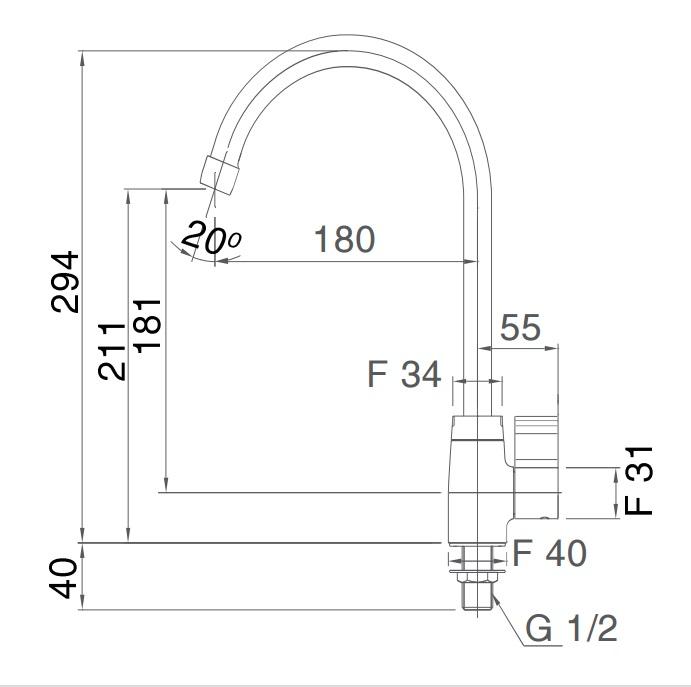 Bản vẽ kỹ thuật Vòi bếp INAX SFV-21