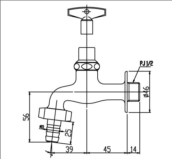 Bản vẽ kỹ thuật vòi gắn tường INAX LF-15G-13