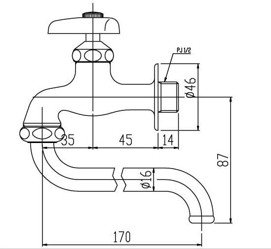 Bản vẽ kỹ thuật vòi gắn tường INAX LF-12-13