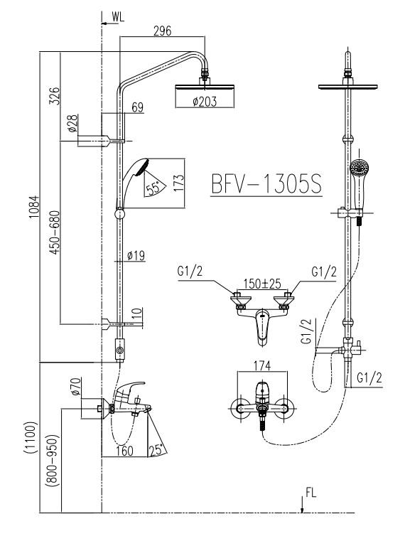 Bản vẽ sen cây INAX BFV-1305S nóng lạnh