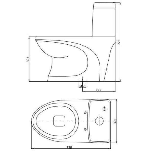 Bản vẽ bệ xí bệt V39M Viglacera 1 khối