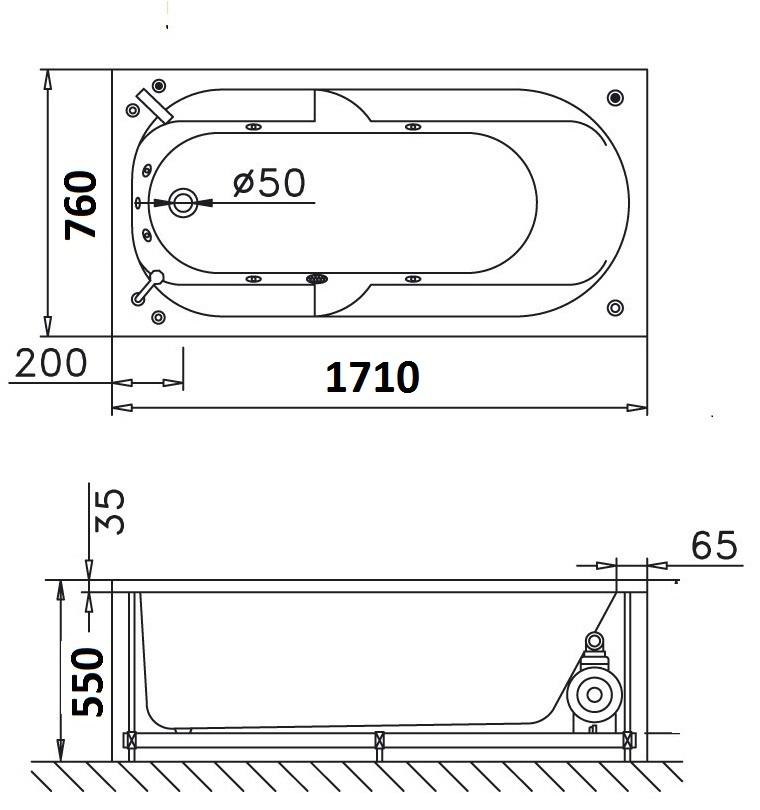 Bản vẽ kỹ thuật bồn tắm dài Caesar MT0670 1,7M