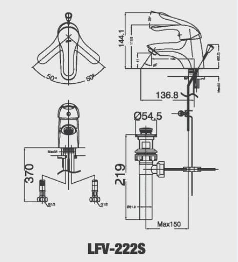 Bản vẽ kỹ thuật vòi lavabo nóng lạnh LFV-222S