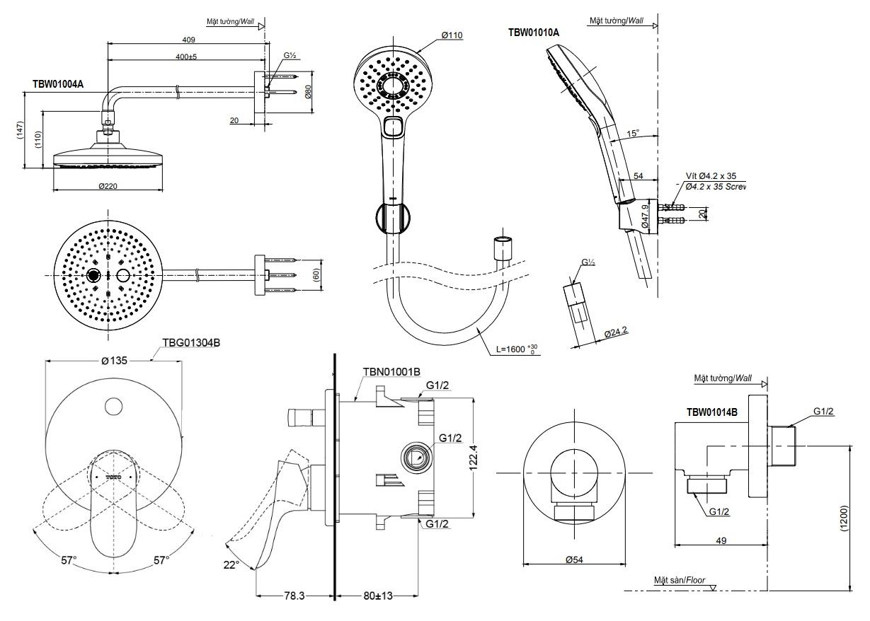 bản vẽ bộ vòi sen TOTO TBG01304B/TBW01004A/TBW01010A âm tường