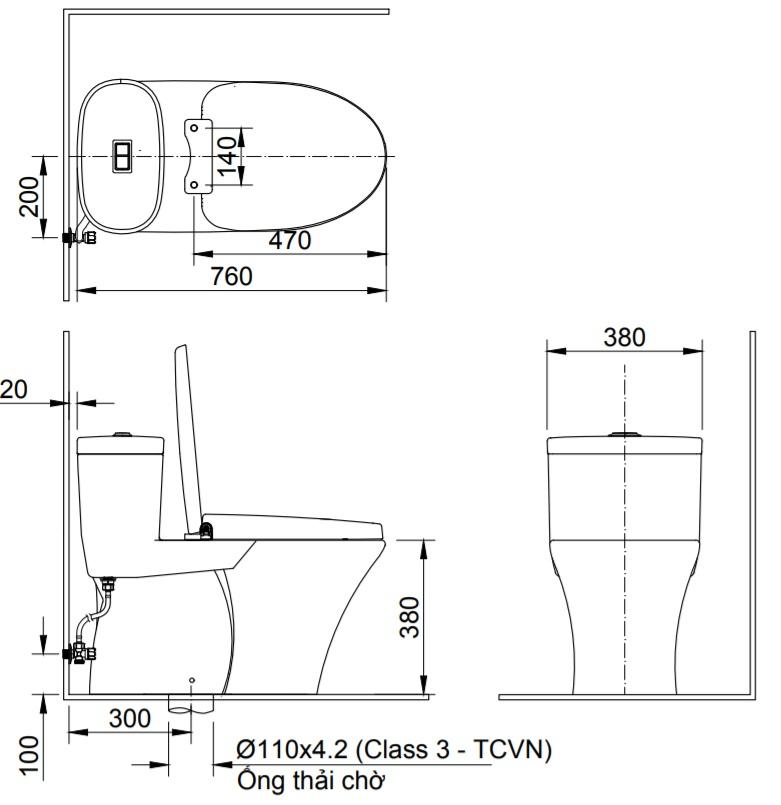 bản vẽ bồn cầu thông minh Inax AC-959A/CW-H18VN