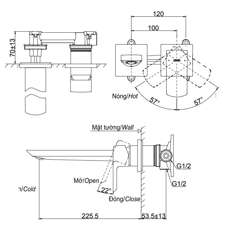 Bản vẽ vòi lavabo TLG02311B TOTO gắn tường