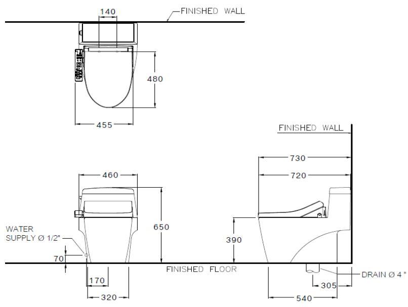 Bản vẽ bồn cầu C10527(CV3) Cotto