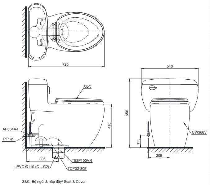 Bản vẽ nắp bệt điện tử TOTO C366 nắp TCF4911Z (W11)