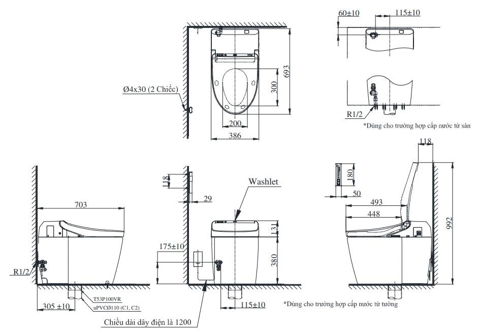 Bản vẽ kỹ thuật bồn cầu Neorest CS988VT/TCF9575Z TOTO