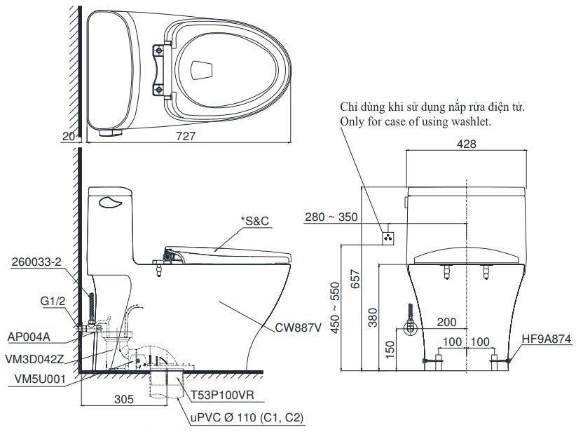Bản vẽ bồn cầu TOTO MS887T8 1 khối