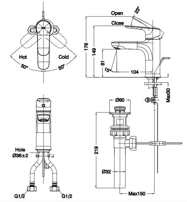 Bản vẽ kỹ thuật vòi lavabo nóng lạnh LFV-1402S