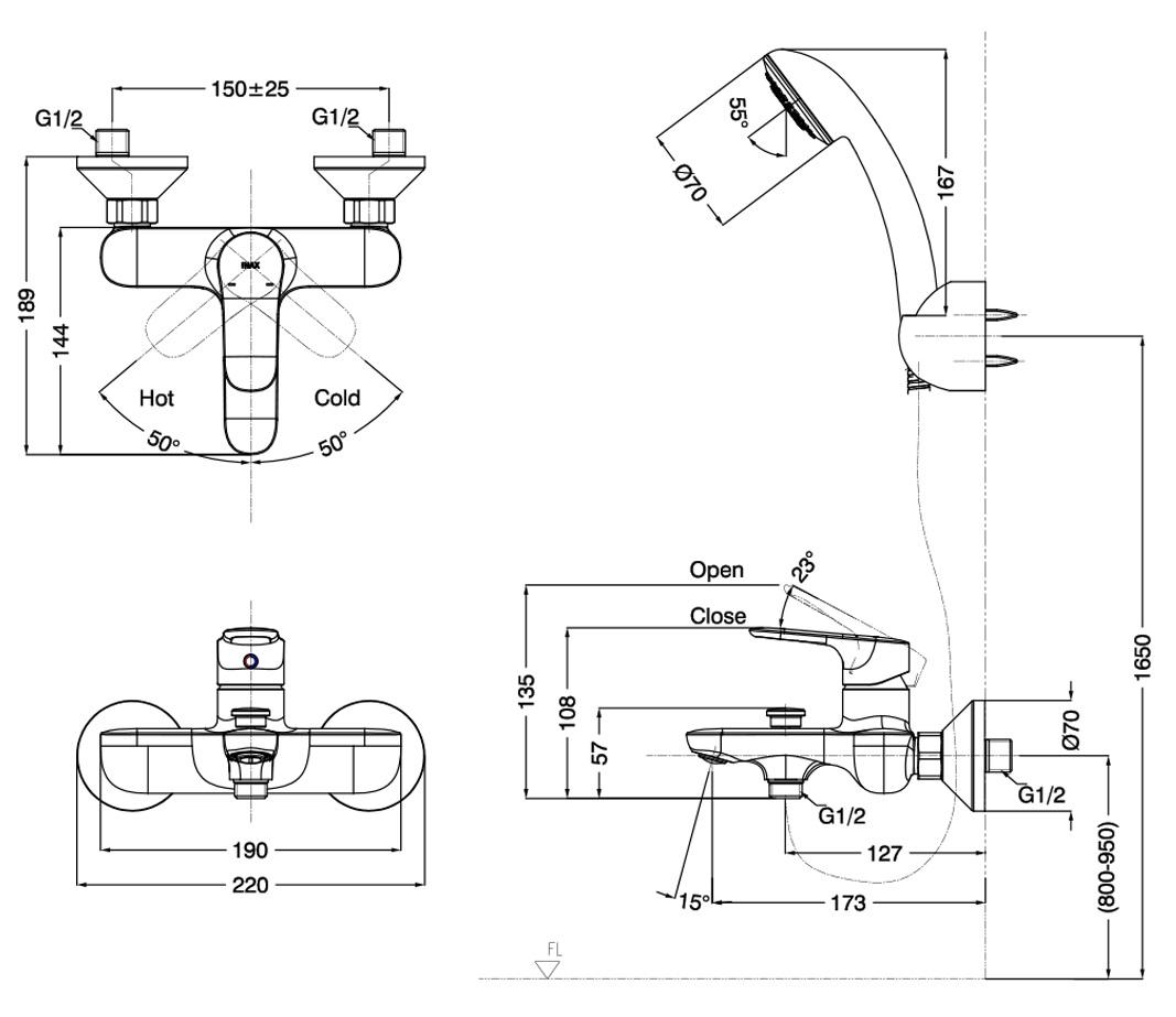 Bản vẽ vòi hoa sen tắm Inax BFV-1403S-4C