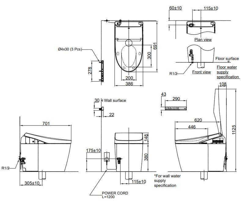Bản vẽ kỹ thuật bồn cầu cảm ứng TOTO CS989VT nắp TCF9768WZ