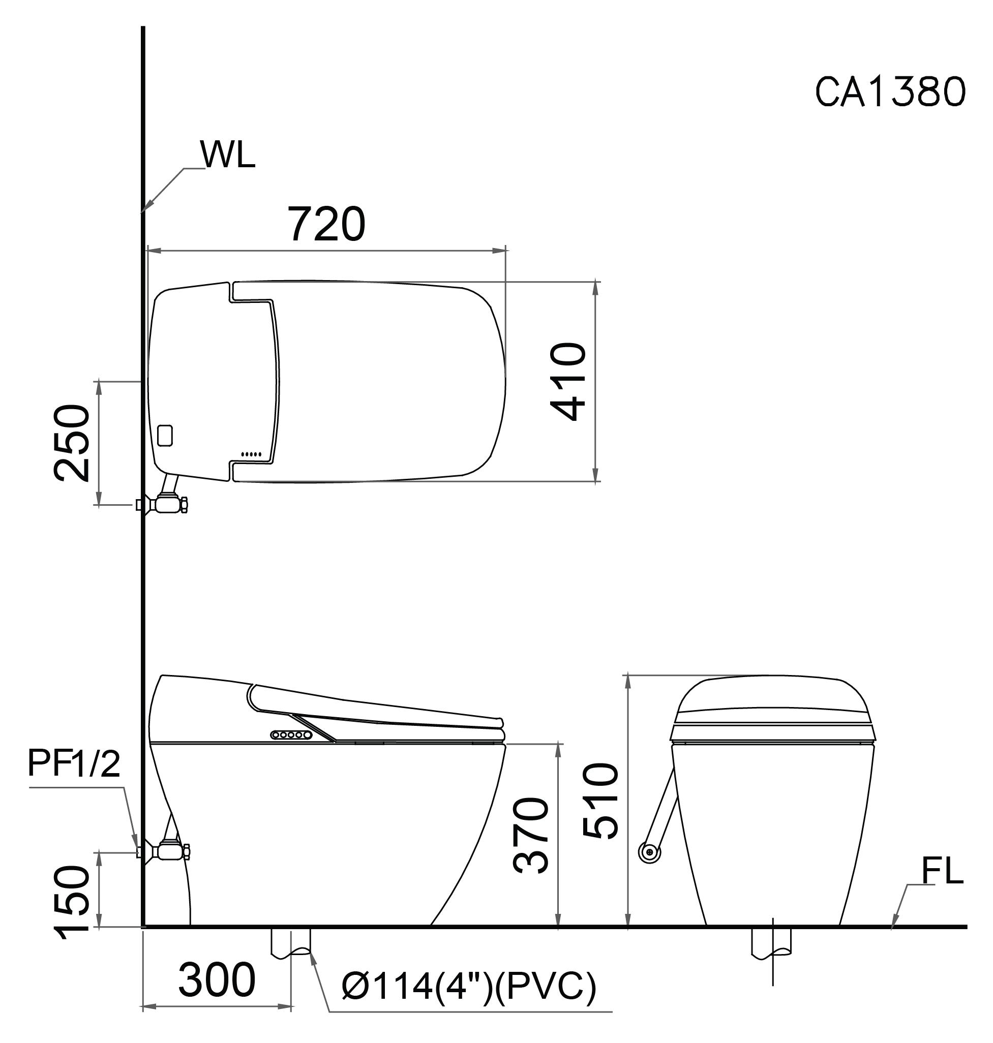 bản vẽ bồn cầu điện tử Caesar CA1380H