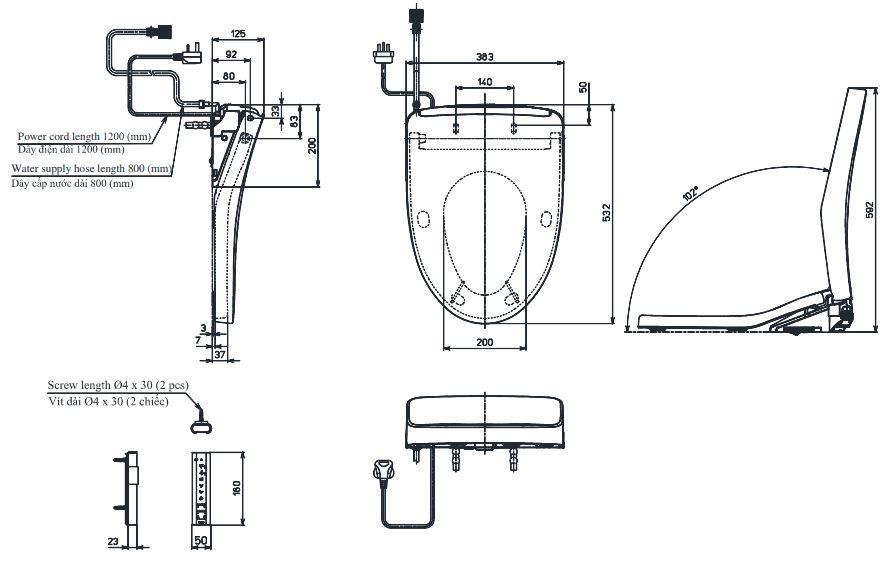 Bản vẽ kỹ thuật nắp điện tử TOTO TCF4911EZ