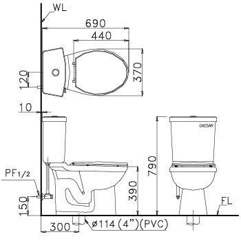 bản vẽ bồn cầu Caesar CD1325 - Xí bệt bàn cầu vệ sinh 2 khối