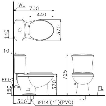 Bản vẽ bồn cầu Caesar CT1338 - Xí bệt bàn cầu vệ sinh 2 khối
