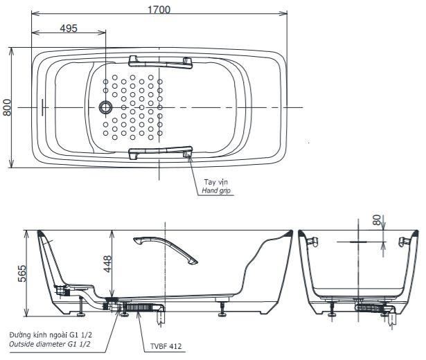 Bản vẽ kỹ thuật bồn tắm Toto PJY 1724 HPWEN GW