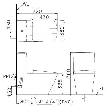 Bản vẽ bồn cầu Caesar CD1346 - Xí bệt bàn cầu vệ sinh 2 khối