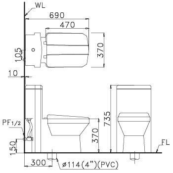 Bản vẽ bồn cầu Caesar CD1347 - Xí bệt bàn cầu vệ sinh 1 khối