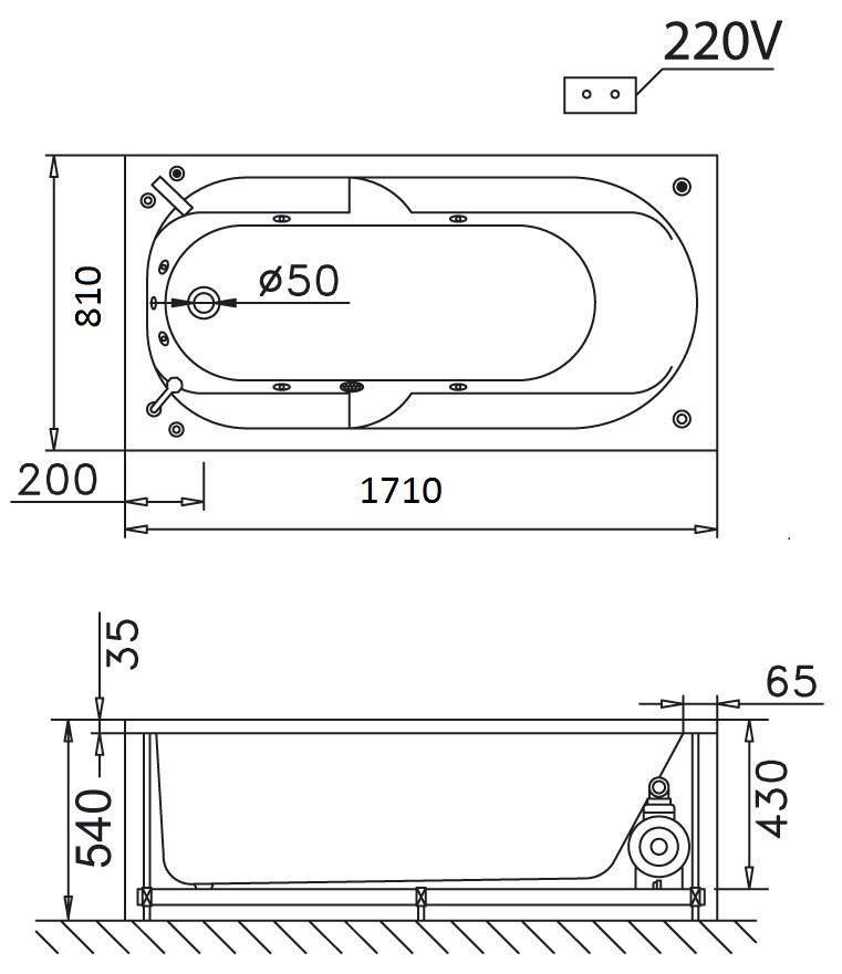 Bản vẽ kỹ thuật bồn tắm dài Caesar MT0170L(R) 1,7M
