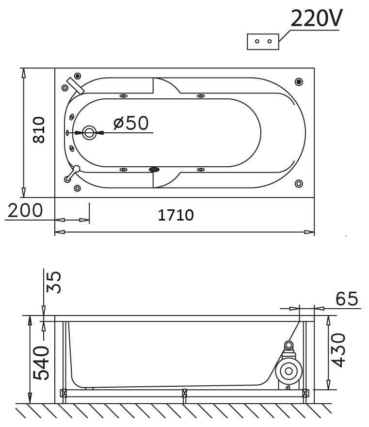 Bản vẽ kỹ thuật bồn tắm dài Caesar MT0170 1,7M massage