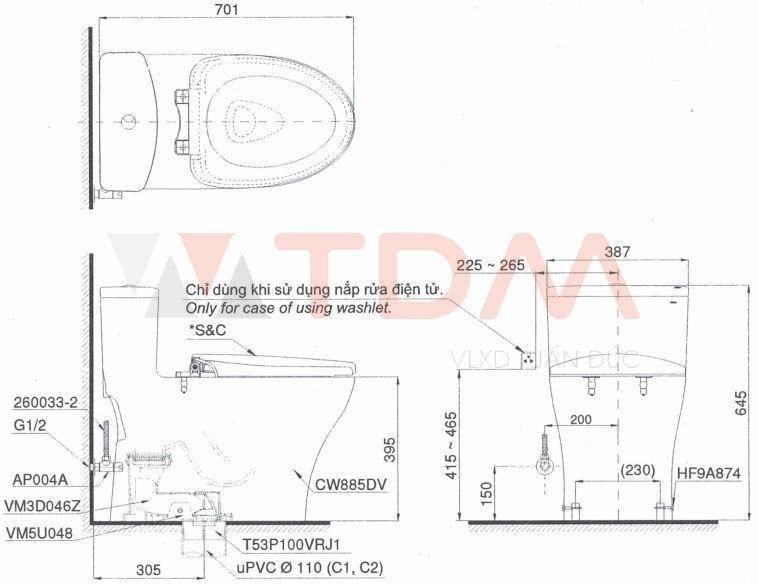 Bản vẽ kỹ thuật bàn cầu TOTO MS885T8