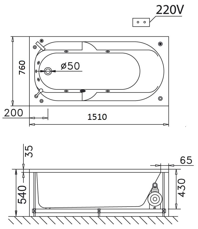 Bản vẽ kỹ thuật bồn tắm dài Caesar MT0150 1,5M