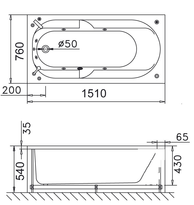 Bản vẽ kỹ thuật bồn tắm dài Caesar AT0150 1.5M