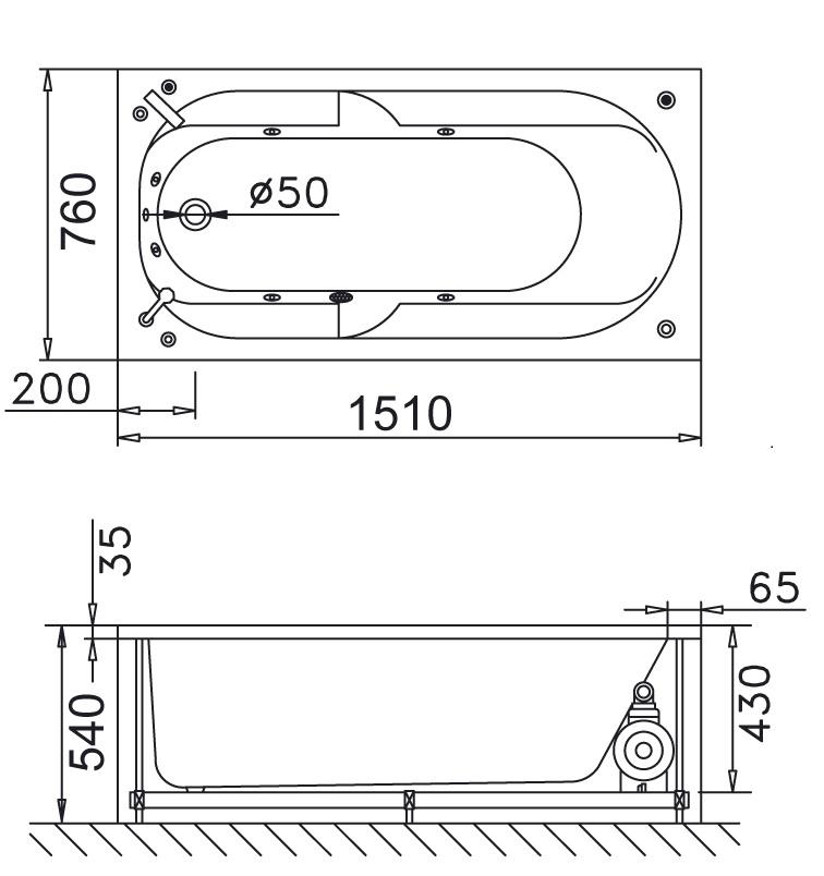 Bản vẽ kỹ thuật bồn tắm dài Caesar AT0250 1.5M