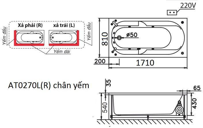Bản vẽ kỹ thuật bồn tắm dài Caesar AT0270L(R) 1.7M