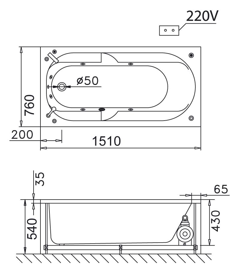 Bản vẽ kỹ thuật bồn tắm massage Caesar MT0250